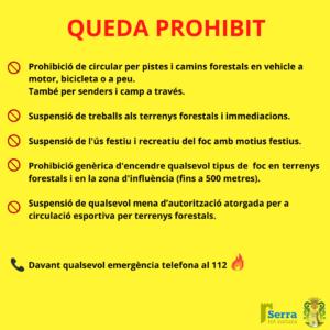 Read more about the article Restriccions per la preemergència. Alt risc d'incendis